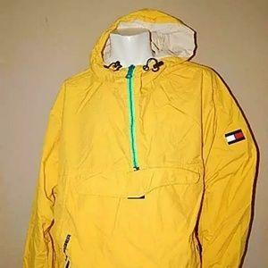 Rare VTG TOMMY HILFIGER Flag Hood Jacket 90s Yel